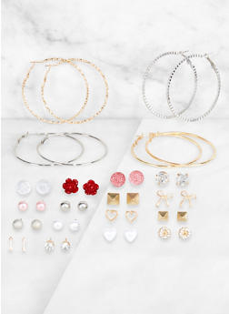 Assorted Studded and Hoop Earring Set - 3122062923810