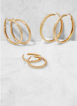Metallic Hoop Earring Trio - 3122062924031
