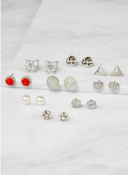 Set of 9 Assorted Stud Earrings - 3122062924061