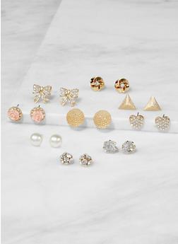 Set of 9 Assorted Stud Earrings - 3122062924061