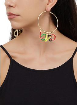 Beaded Loved Hoop Earrings - 3122062924078