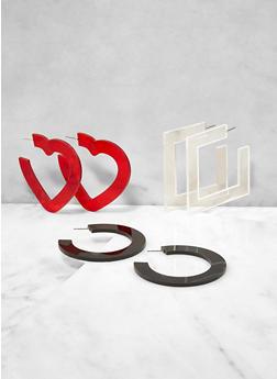 Plastic Geometric Earring Trio - 3122062924139