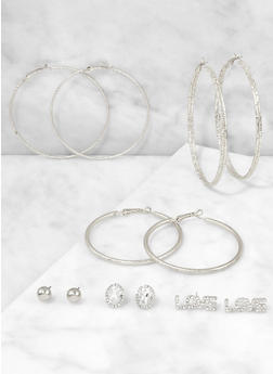 Love Stud and Hoop Earrings Set - 3122062924251