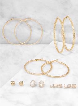 Love Stud and Hoop Earrings Set - 3122062924251