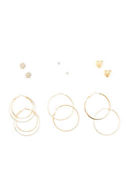 Set of 6 Stud and Layered Glitter Hoop Earrings - 3122062924252