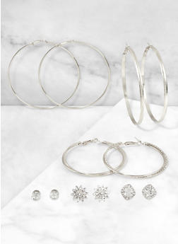 Rhinestone Hoop and Stud Earring Trios - 3122062924256