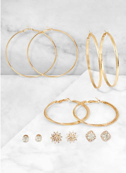 Rhinestone Hoop and Stud Earring Trios - 3122062924256