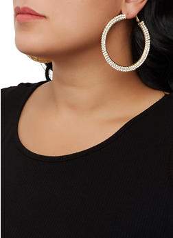 Rhinestone Flat Hoop Earrings - 3122062924475