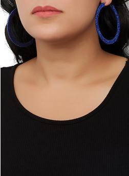 Rhinestone Flat Hoop Earrings - 3122062924475