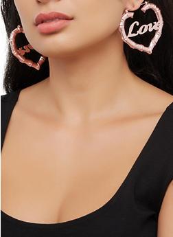 Love Bamboo Heart Hoop Earrings - 3122062924476