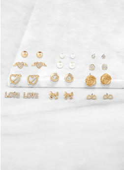 Rhinestone and Faux Pearl Assorted Stud Earrings - 3122062924493