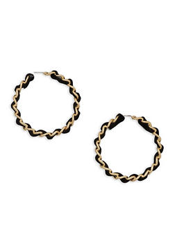 Woven Curb Chain Hoop Earrings - 3122062924677