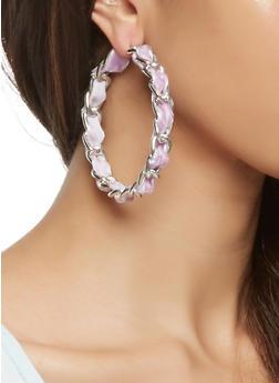 Woven Curb Chain Hoop Earrings - 3122062924677