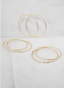 Textured Metallic Hoop Earrings Trio - 3122062924876
