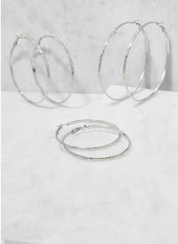Trio of Textured Metallic Hoop Earrings - 3122062925114