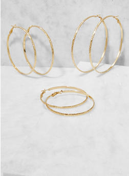 Trio of Textured Metallic Hoop Earrings - 3122062925114