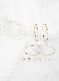 Rhinestone Metallic Stud and Hoop Earrings Set - 3122062925248