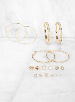 9 Assorted Metallic Hoop and Stud Earrings - 3122062925284