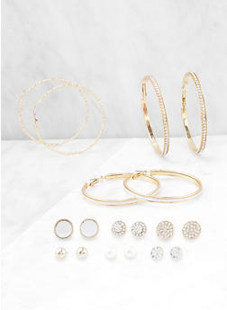 Set of 9 Glitter Stud and Hoop Earrings - 3122062925293