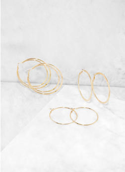 Assorted Flat Hoop Earring Trio - 3122062925571