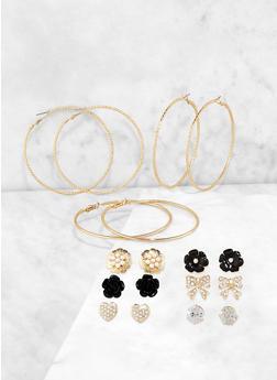 Rose Bud Stud and Metallic Hoop Earrings - 3122062925717