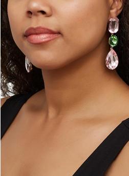 Multi Gem Drop Earrings - 3122062925731