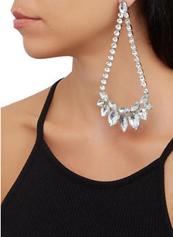 Rhinestone Teardrop Chandelier Earrings - 3122062925806
