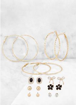 Rhinestone Bow Stud and Metallic Hoop Earrings - 3122062926020