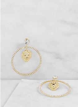 Lion Charm Hoop Earrings - 3122062926068