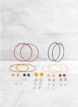Set of 20 Multi Color Hoop and Stud Earrings - 3122062926082