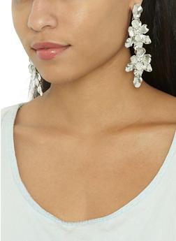 Metallic Flower Drop Earrings - 3122062926085