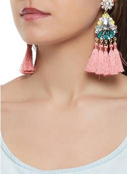 Jeweled Tassel Earrings - 3122062926382