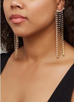 Long Rhinestone Drop Earrings - 3122062926395