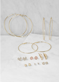 Set of 9 Assorted Hoop and Stud Earrings - 3122062926473