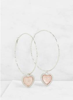 Large Heart Charm Hoop Earrings - 3122062926554