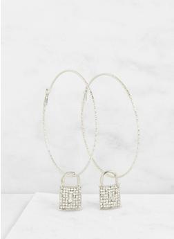 Rhinestone Lock Charm Hoop Earrings - 3122062926558
