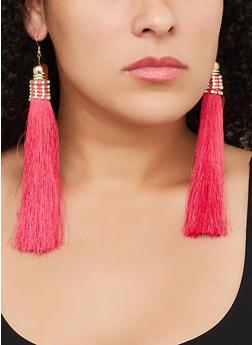 Long Rhinestone Tassel Earrings - 3122062926865