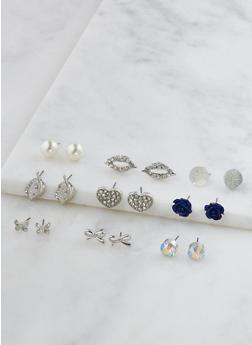 Set of 9 Assorted Stud Earrings - 3122062926939