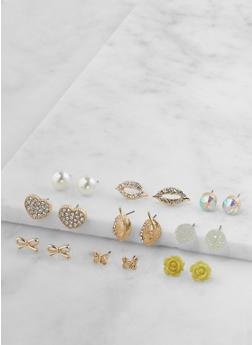 Set of 9 Assorted Stud Earrings - 3122062926939