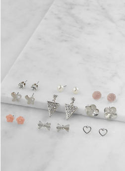 Set of 9 Metallic Rhinestone Stud Earrings - 3122062926940