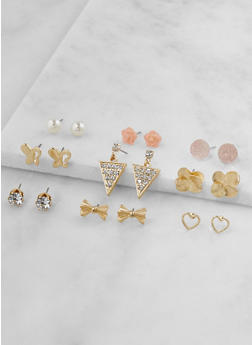 Set of 9 Metallic Rhinestone Stud Earrings - 3122062926940