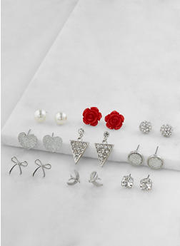 Assorted Rhinestone Stud Earrings Set - 3122062926943