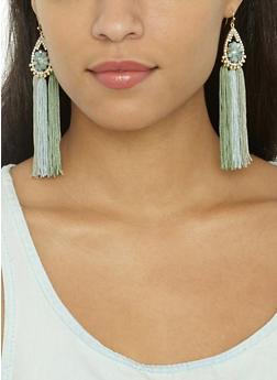 Jeweled Tassel Drop Earrings - 3122062927076