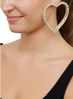 Heart Rhinestone Drop Earrings - 3122062927079