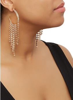 Metallic Rhinestone Fringe Hoop Earrings - 3122062927106