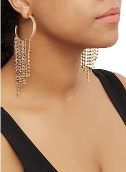 Metallic Rhinestone Fringe Hoop Earrings - 3122062927106