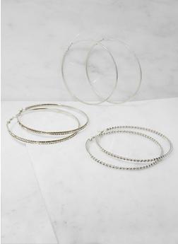 Oversized Hoop Earrings Trio - 3122062927146