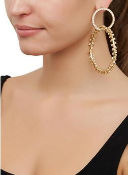 Rhinestone Interlocked Hoop Earrings - 3122062927172