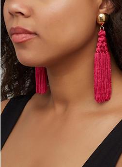 Woven Tassel Drop Earrings - 3122062927214