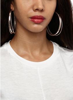 Set of 6 Hoop and Stud Earrings - 3122062927375
